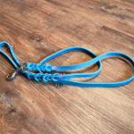 Fettlederleine türkis, geflochten mit Handschlaufe 130cm/12mm